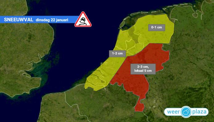 De verwachte neerslag volgens Weerplaza.