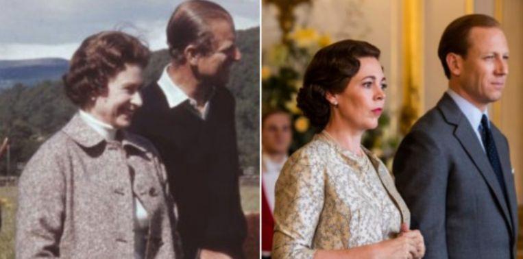 De Queen en prins Philip (links) en Olivia Colman en Tobias Menzies (rechts).