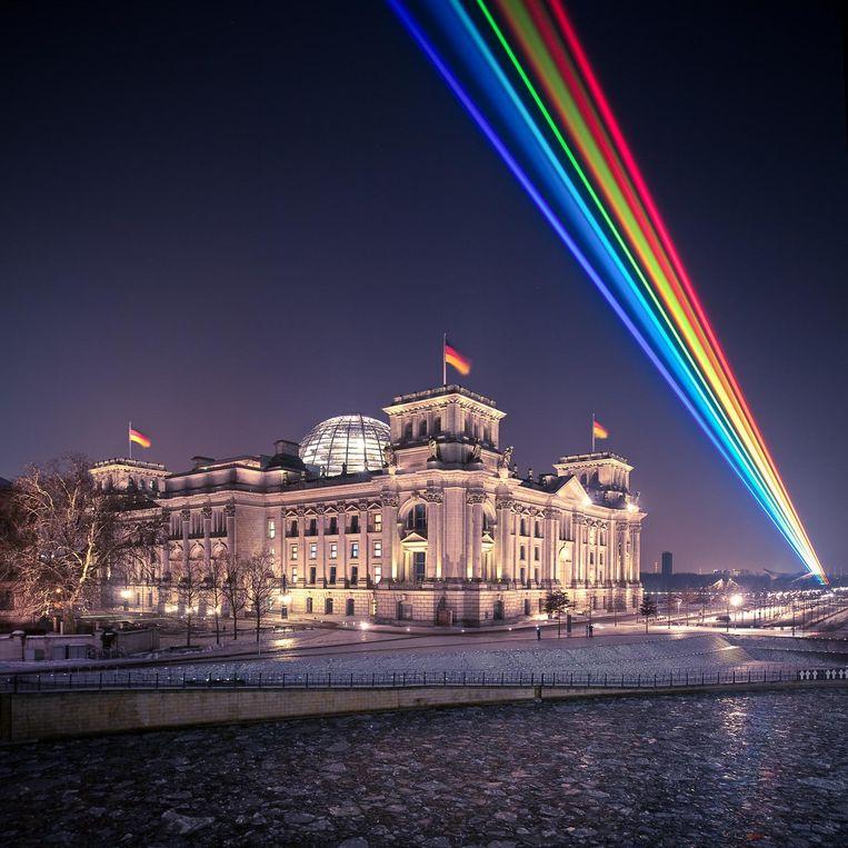 Ook in Berlijn was de laser al te zien.