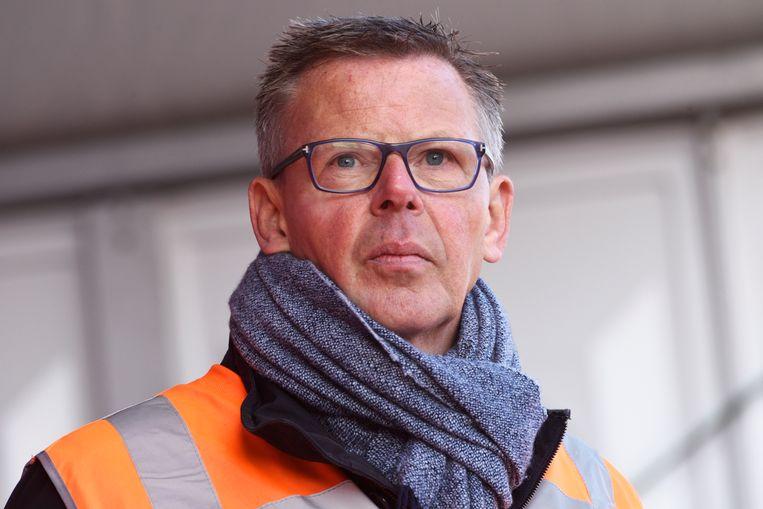 Doekle Terpstra in zijn hoedanigheid van voorzitter Techniek Nederland tijdens de bouwdemonstratie op 30 oktober 2019 in Den Haag.  Beeld Hollandse Hoogte