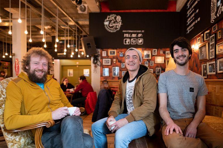 Gert De Bie (Staminee De Living, Toekan Records), Kristof Meeus (Toekan Records) en Jens  Van den Broek (Staminee De Living)