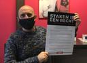 Walter Joos, werknemer Agfa-Gevaert Mortsel en vakbondsafgevaardigde ABVV, staakte van thuis uit donderdag.