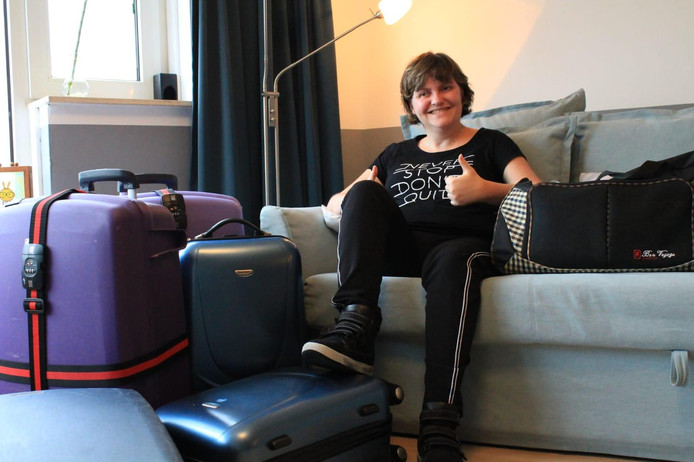 Stefanie van Houcke is klaar voor haar reis naar Amerika.