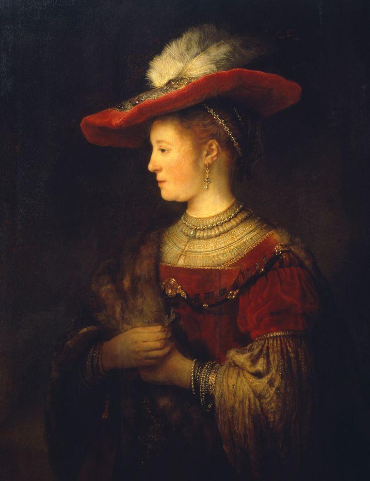 Rembrandt van Rijns 'Saskia en profil in rijk gewaad' uit 1633-1642, hangend in de Gemäldegalerie Alte Meister. Beeld