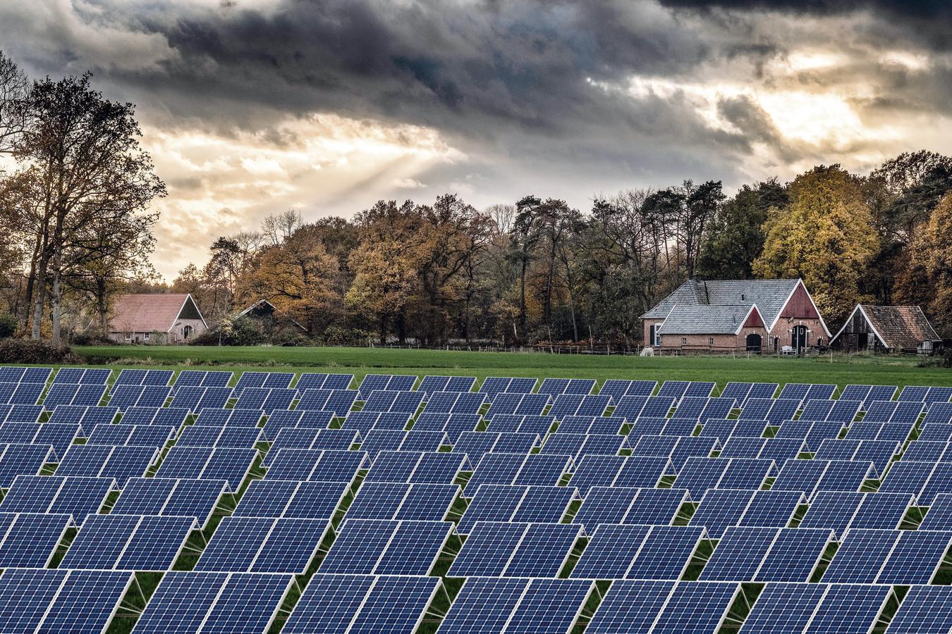 Fotomontage van een zonnepark in het Winterswijkse buurtschap Woold.