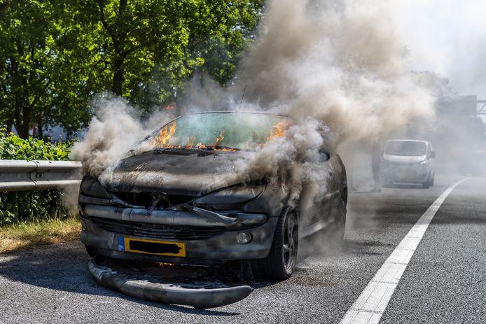 Een autobrand heeft vrijdagmiddag een Peugeot verwoest in Oosterhout.