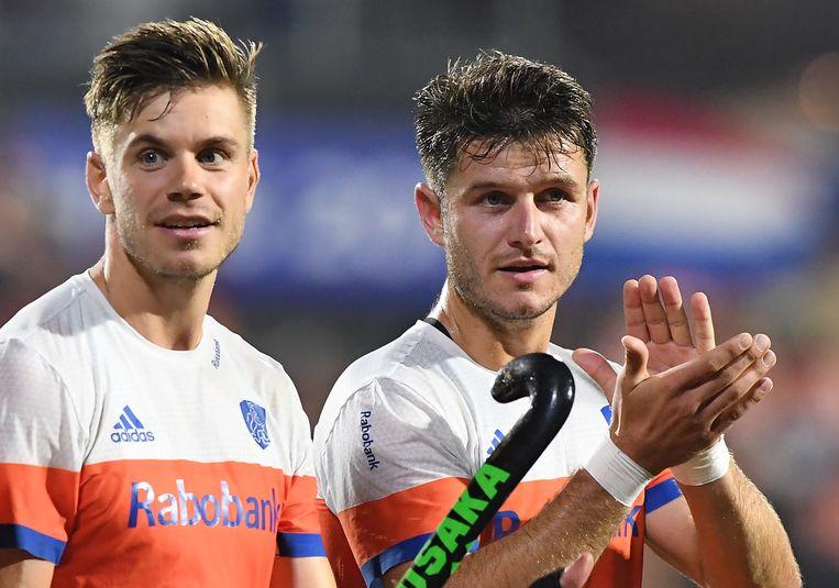 Sander de Wijn (links) en Robbert Kemperman tijdens het EK hockey van 2017. Beeld Hollandse Hoogte