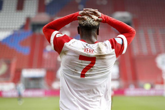 FCUtrecht-aanvaller Gyrano Kerk baalt in de verloren thuiswedstrijd tegen Ajax. Foto anp