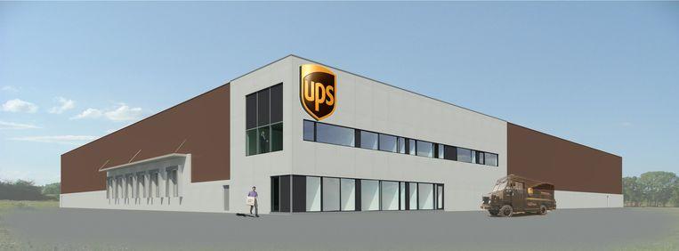 Een simulatiebeeld van de nieuwbouw van koerierbedrijf UPS.