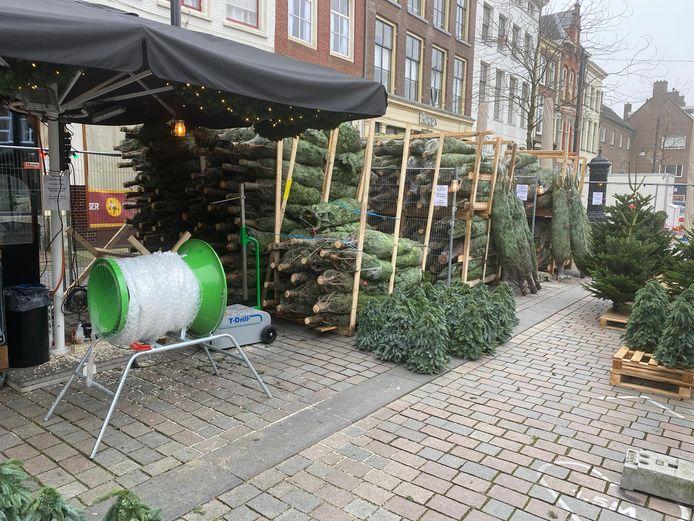 Café Camelot startte een week geleden met de verkoop van kerstbomen. Een deel van de verkochte bomen belandt bij verpleeghuizen van Sensire.