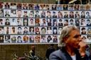 Nationale herdenking Srebrenica in Den Haag met foto's van de slachtoffers.