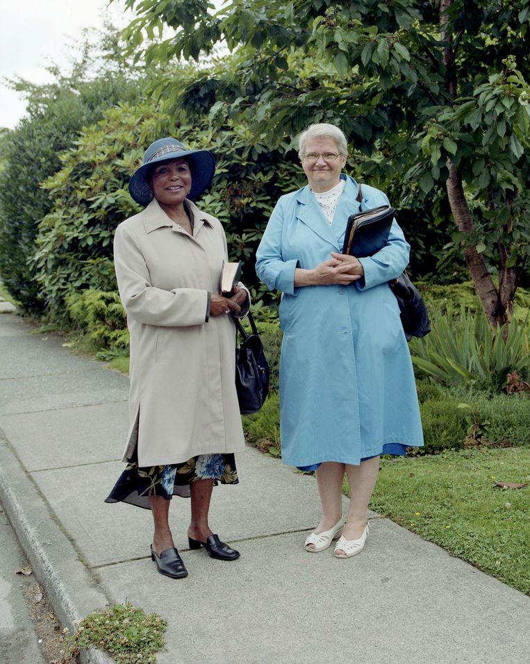 Twee Jehovah getuiges in Vancouver. Beeld null