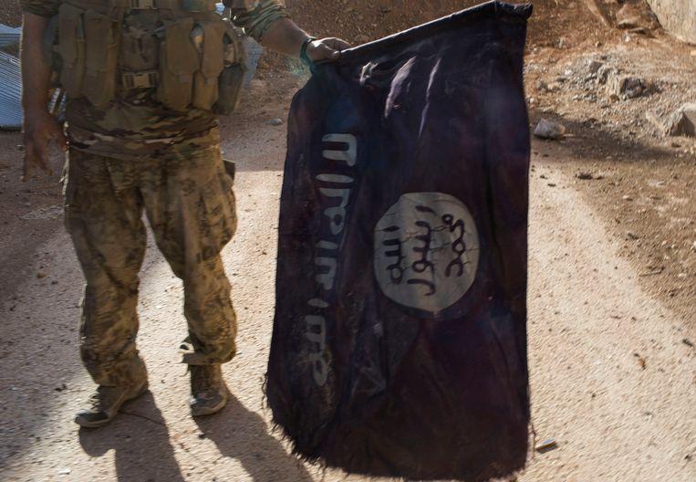 Een vlag van Islamitische Staat.