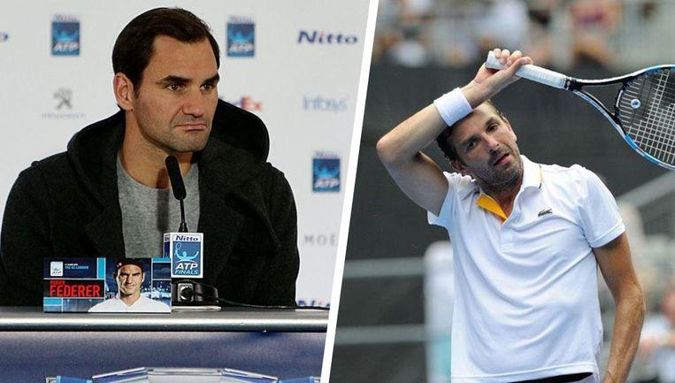 Links: Federer kan het uitleggen na zijn zege tegen Thiem. Rechts: Julien Benneteau ziet af tijdens de Australian Open van dit seizoen.