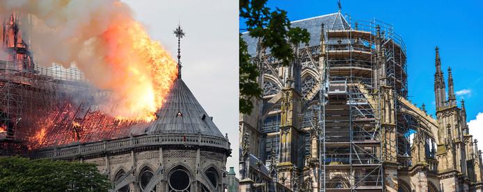 De brandende Notre-Dam (links) en de Domkerk (rechts).