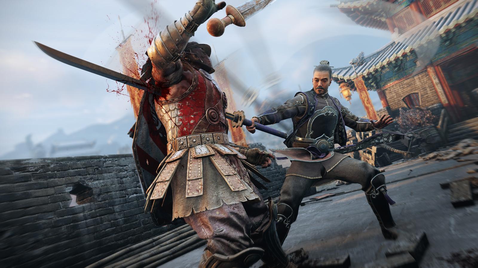 Een van de zwaardgevechten uit 'For Honor'.