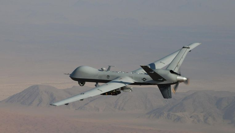 De MQ-9 reaper kan ongeveer 1700 kilogram aan raketten en bommen meetorsen. Beeld