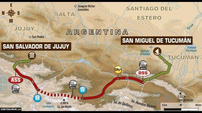 De route van de derde etappe van Dakar 2017.