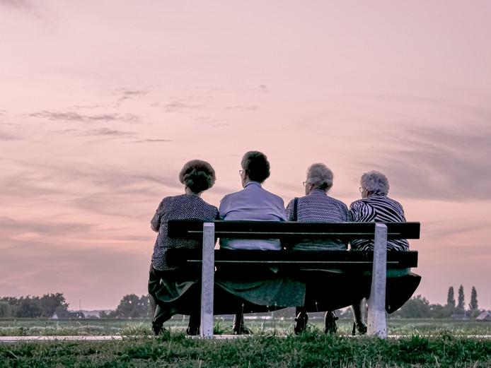 Vier oudere dames genieten langs rivier de Lek van een verkoelend windje. Een kleedje op het bankje zorgt ervoor dat hun mooie rokken niet vuil worden. ds.zomerfoto