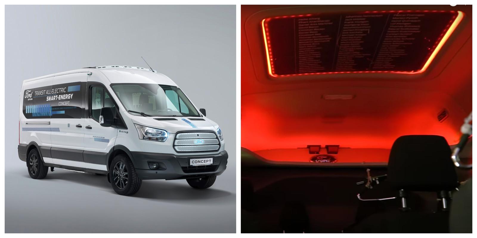 De Ford Transit Smart Energy Concept met rode verlichting.