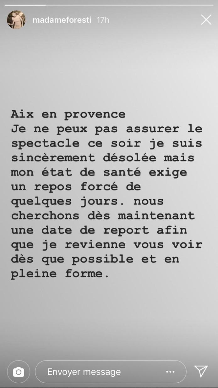Florence Foresti a publié un message dans sa story Instagram pour expliquer les raisons de son absence.