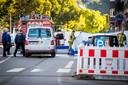 Hulpdiensten zijn aanwezig in de avenue Reine Astrid waar een agent van de Belgische politie is doodgeschoten na een melding over een ruzie.
