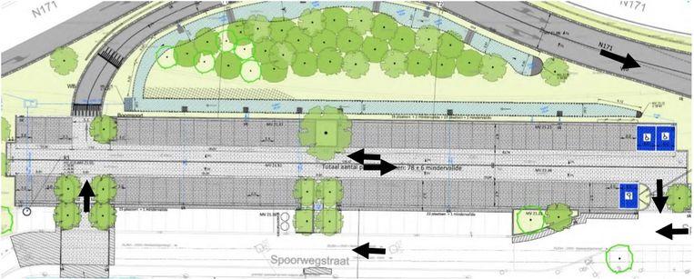 Een plannetje van hoe de parking eruit zal zien.