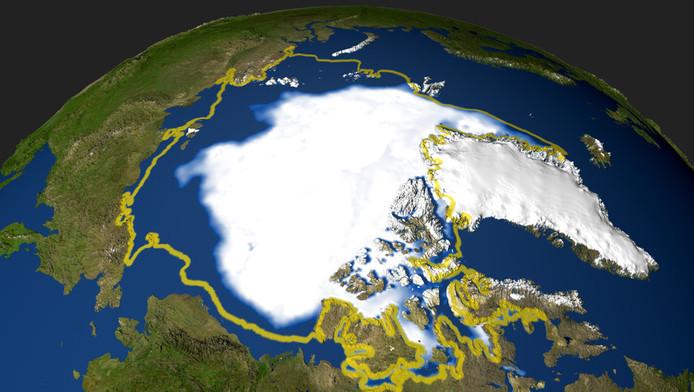 De Noordelijke IJszee vanuit de ruimte.