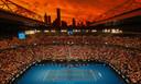 De lucht boven Melbourne tijdens de partij tussen Alex De Minaur en Rafael Nadal.