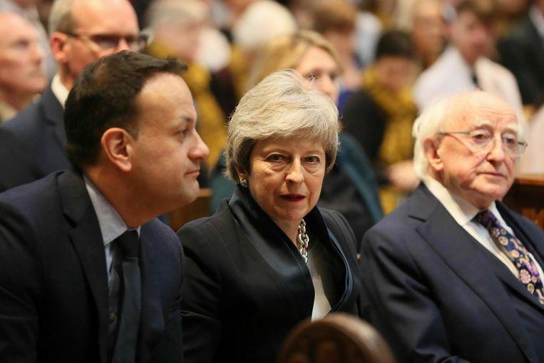 De Ierse regeringsleider Leo Varadkar, de Britse premier Theresa May en de Ierse president Michael D. Higgins.