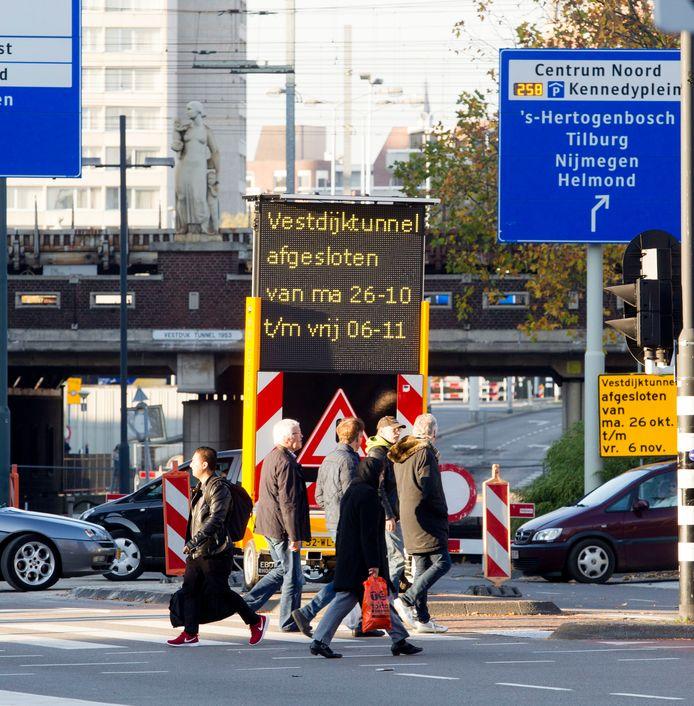 De in 2015 afgesloten Vestdijktunnel in Eindhoven op een archieffoto.