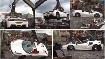 VIDEO: Peperdure Ferrari wordt  op politiebevel gesloopt