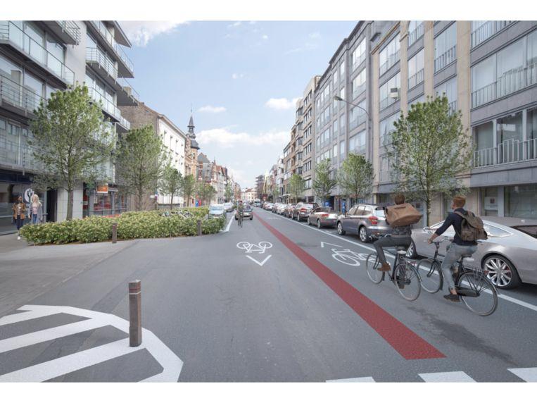 Het wegdek van de Rijselsestraat wordt versmald door parkeerplaatsen meer naar het midden op te schuiven én met extra groen.