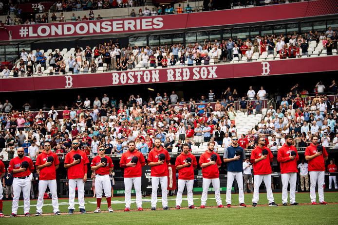 De line up van de Red Sox voor hun 'thuiswedstrijd' in Londen.