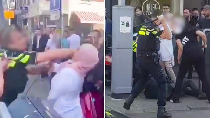 Onrust in Kanaalstraat in Utrechtse wijk Lombok na aanhouding, waarbij vechtpartij ontstond tussen agenten en omstanders.