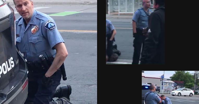 Stills uit videobeelden van de arrestatie en dood van George Floyd op 25 mei. Beeld