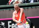 Richel Hogenkamp tijdens de Davis Cup.