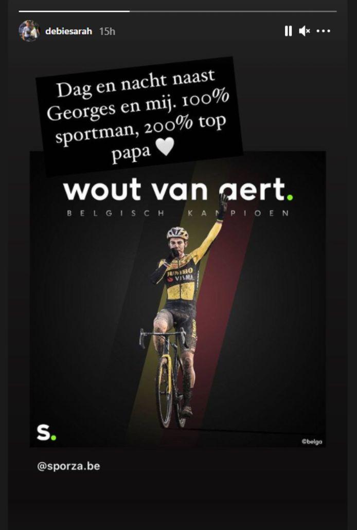 Sarah De Bie reageerde apetrots op de nieuwe Belgische titel van haar man.