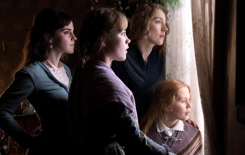 De vier zussen March, van links naar rechts, Meg (Emma Watson), Amy (Florence Pugh), Jo (Saoirise Ronan) en Beth (Eliza Scanlen)
