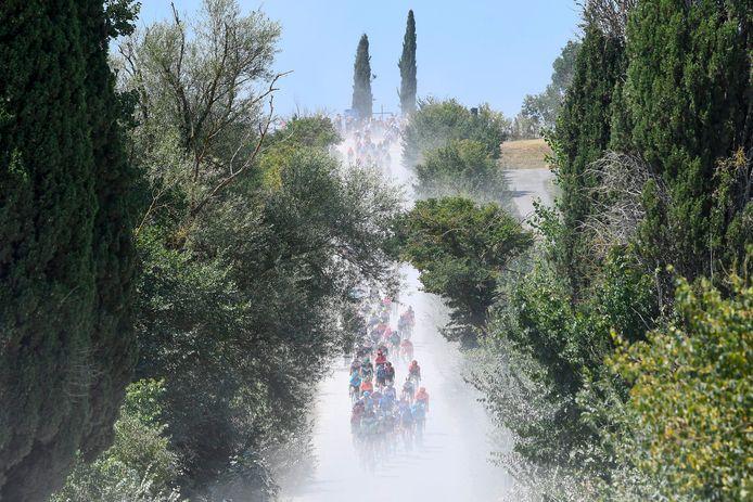 Stof vreten op Toscaanse wegen.