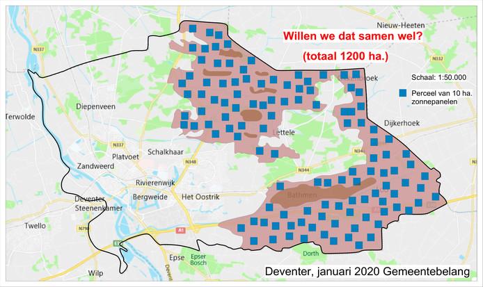 Zo zouden de zonnepanelen in het buitengebied van Deventer straks kunnen komen te liggen volgens coalitiepartij. Het lichtroze gebied is gebied waar zonnepanelen zouden kunnen komen te staan. In het donkerbruine gebied mogen geen windmolens komen, omdat het beschermd gebied of bebouwing is.
