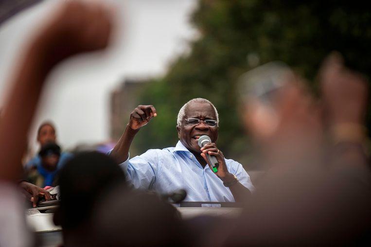 Afonso Dhlakama tijdens een campagnebijeenkomst in 2014. Beeld ANP