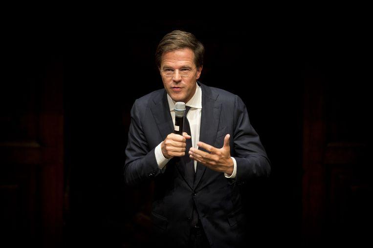 Minister-president Mark Rutte houdt in De Rode Hoed de vijfde H.J. Schoo-lezing. De jaarlijkse lezing markeert het begin van het politieke jaar. Beeld anp