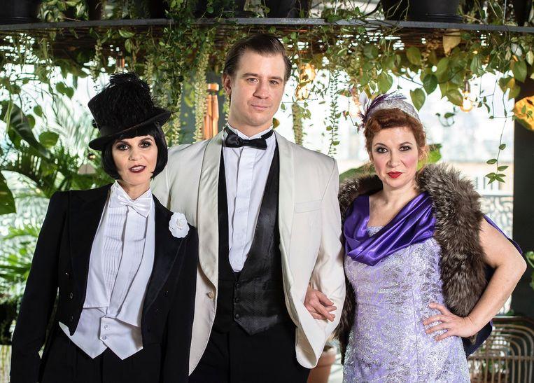De cast van The Great Gatsby: Katja Retsin, Timo Descamps en Veerle Malschaert.