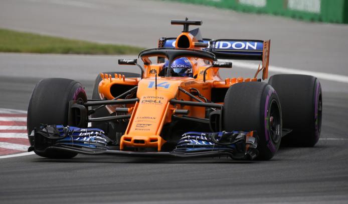Fernando Alonso in actie tijdens de Grand Prix van Canada.