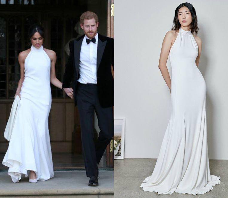 Links: Meghan Markle in de trouwjurk van Stella McCartney. Rechts: de replica van de ontwerpster.