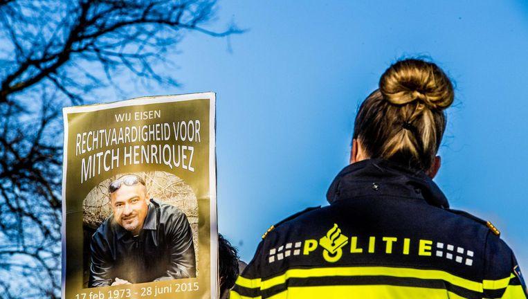 Beeld van de demonstratie tegen politiegeweld, afgelopen weekend in Den Haag, in de aanloop naar de uitspraak in de zaak rond het overlijden van Mitch Henriquez. Beeld anp