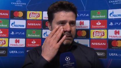 """VIDEO. Pochettino laat ook na de match tranen de vrije loop: """"Dank aan iedereen, dank aan het voetbal!"""""""