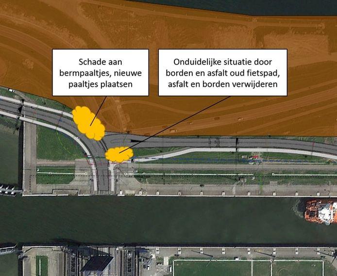 Aanpassingen verkeerssituatie aan oostzijde noordbrug Westsluis Terneuzen.
