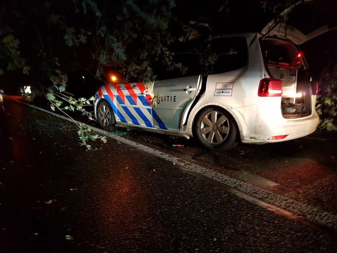 Van de politieauto bleef weinig over nadat er een eik op viel.